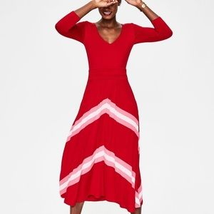 BODEN red and pink long sleeve dress 8